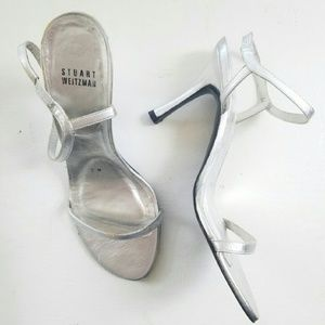 Silver Leather Stuart Weitzman Strappy Heels
